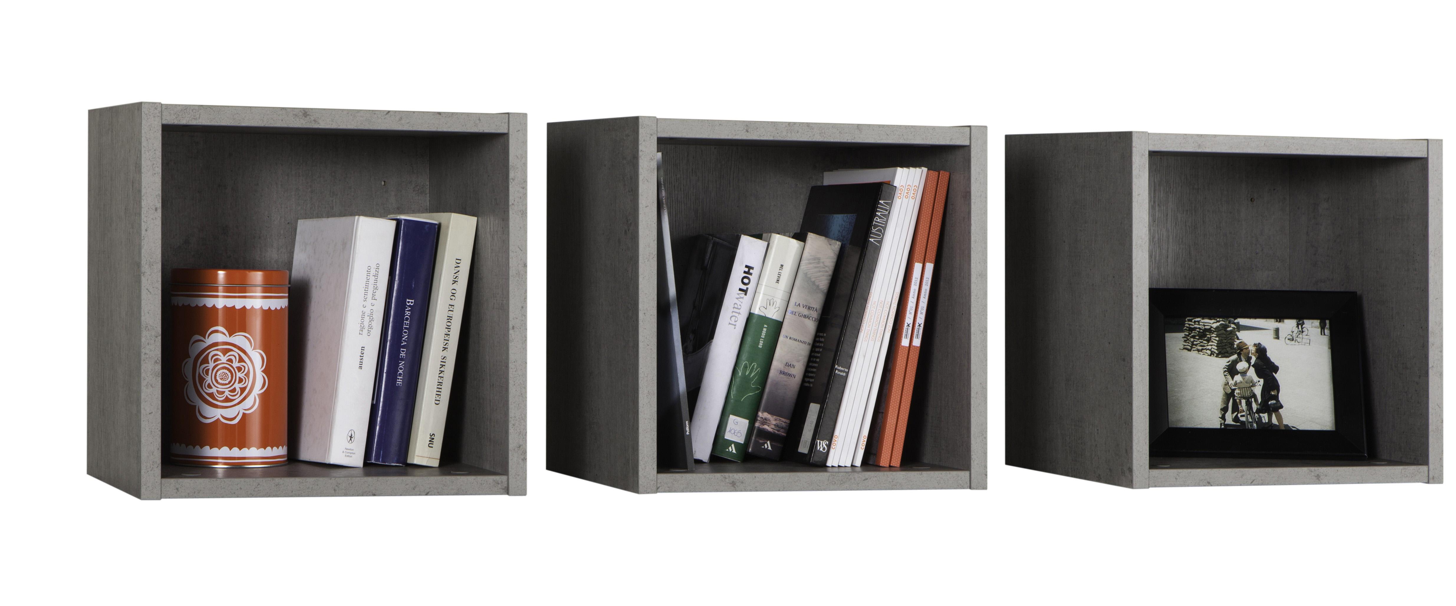 kit tre cubi cm 35x28x35h grigio cemento  u2013 delait  u2013 design